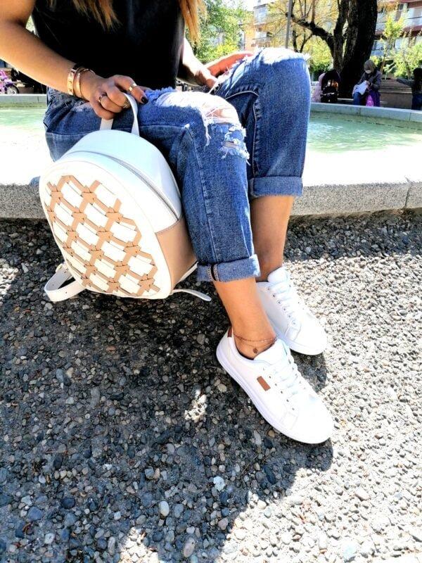 Sneakers Basic με Taba Λεπτομέρειες White