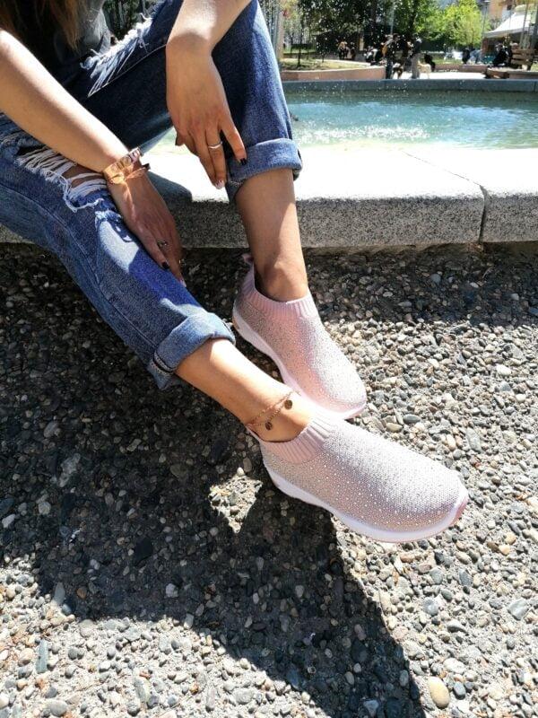 Sneakers Κάλτσα με Στρας Pink