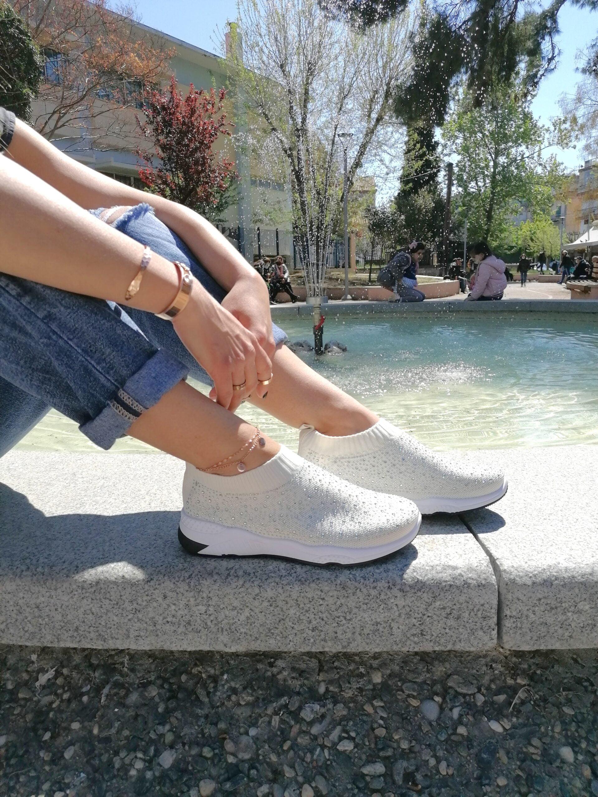 Sneakers Κάλτσα με Στρας White