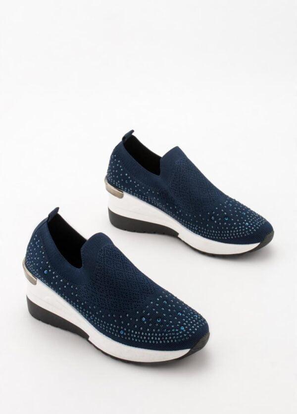 Sneakers Γυναικεία Κάλτσα με Στρας Blue