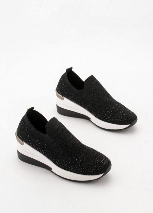 Sneakers Γυναικεία Κάλτσα με Στρας Black