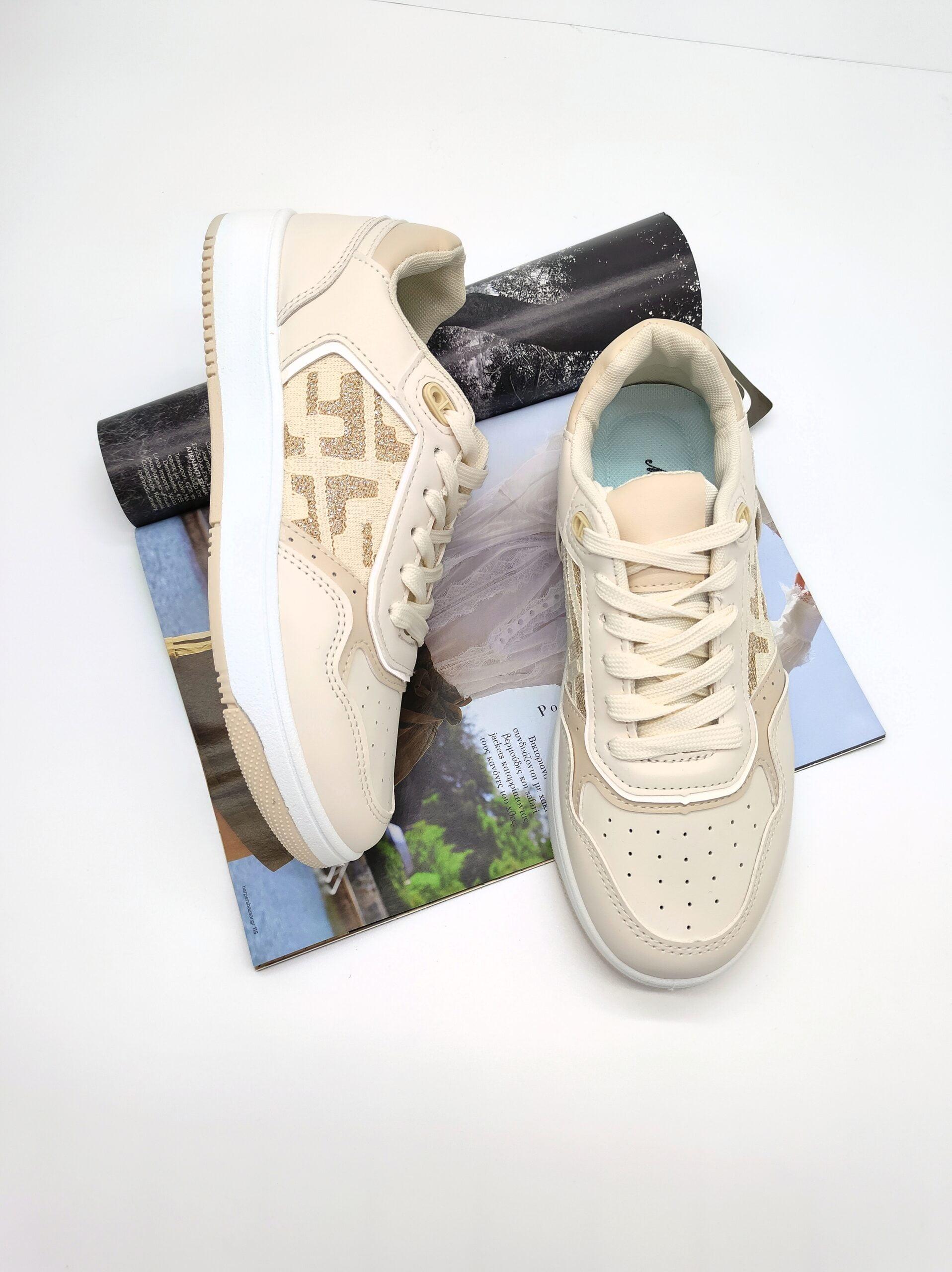 Sneakers με Σχέδια Beige