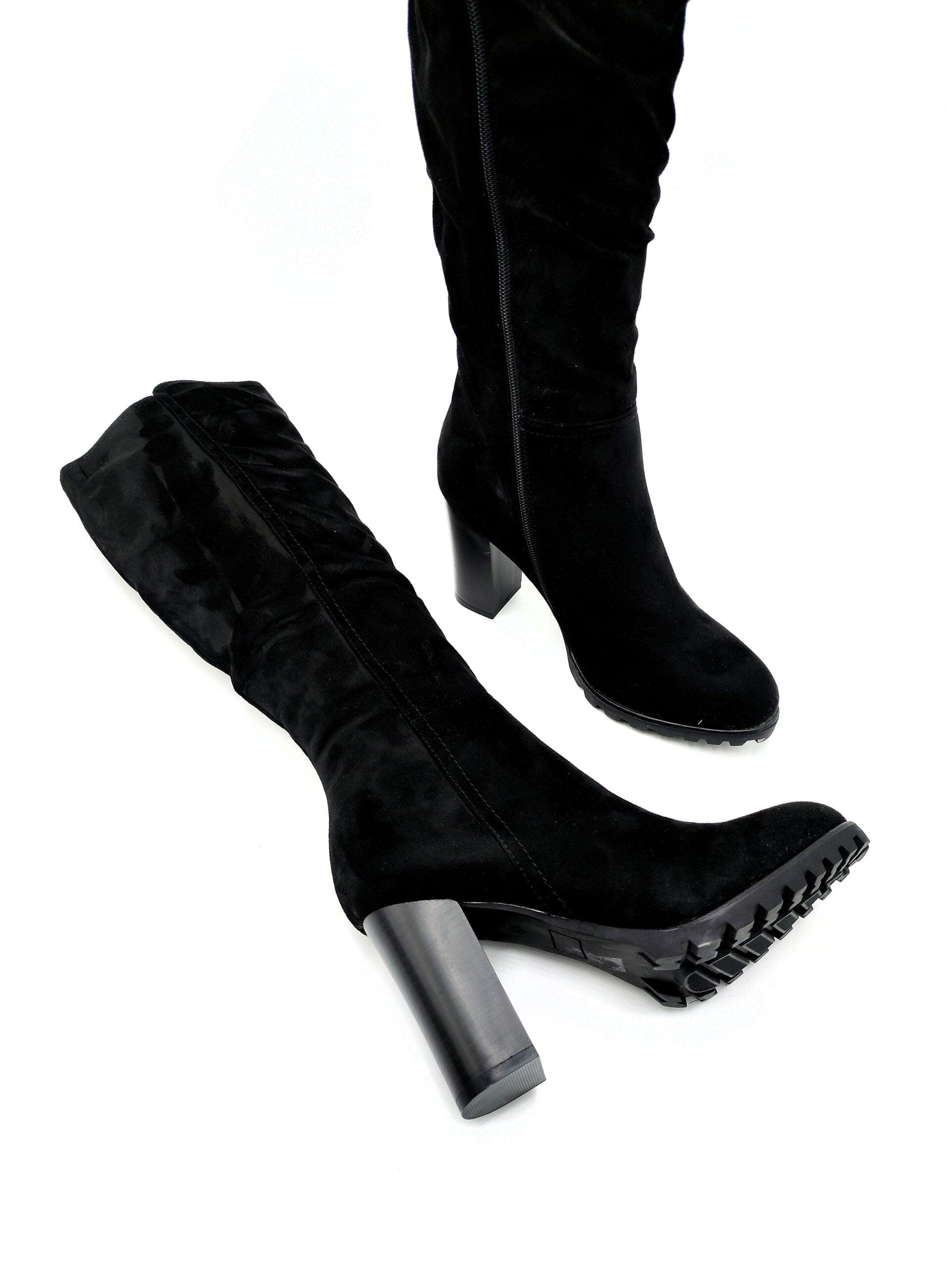 Μπότες Suede με Χοντρό Τακούνι Black