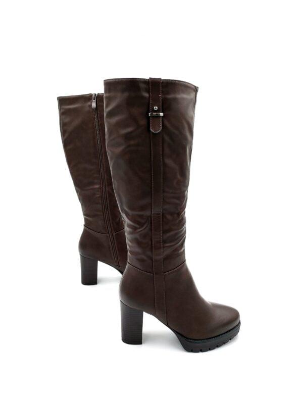 Μπότες με Χοντρό Τακούνι Brown